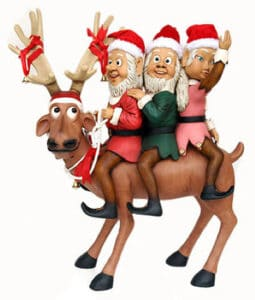 Elves Riding Funny Reindeer
