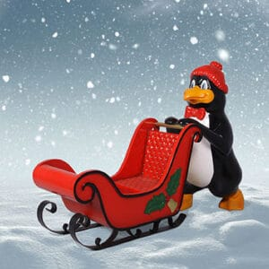 Christmas Penguin with Sleigh