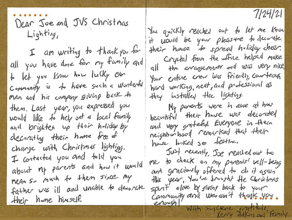 Thank You JVS Card